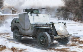 Picture USA, SUV, Willys MB, Browning M2, All terrain vehicle