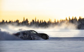 Picture snow, movement, black, Porsche, track, 2020, Taycan, Taycan 4S