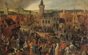 Picture oil, picture, Sebastian Vranx, 1647, Базарный день в фламандском городе, Sebastiaan Vrancx