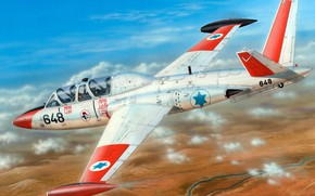 Picture light attack, The Israeli firm IAI, double jet combat training aircraft, Fouga CM.170 Magister