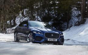 Picture winter, snow, blue, Jaguar, sedan, Jaguar XF, 2020, XF