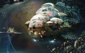 Picture Space, Ship, Space, Art, Fiction, Asteroids, Daniel Dociu, Spaceship, Space Opera, by Daniel Dociu