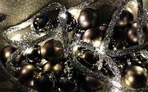 Picture winter, balls, the dark background, holiday, balls, Shine, lights, Christmas, New year, garland, a lot, …