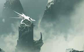Picture Winter, Mountains, Dragon, Rocks, White, Monster, Fantasy, Dragon, Art, Fiction, Omar Bronze, by Omer Tunc, …