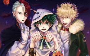 Picture art, guys, Halloween, Boku No Hero Academy, My Hero Academy