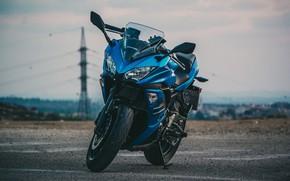 Picture motorcycles, Kawasaki, bike, blue