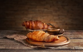Picture Board, coffee, Cup, parchment, cakes, croissants