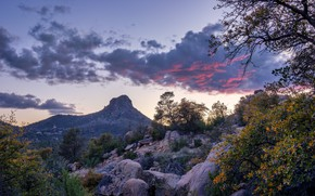 Picture clouds, trees, mountains, rocks, USA, Arizona, Prescott