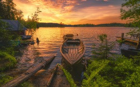 Picture landscape, sunset, nature, lake, boats, forest, Bank