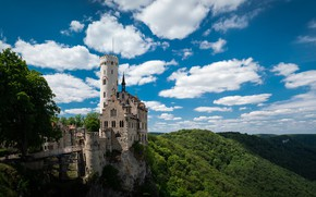 Picture summer, the sky, the sun, nature, castle, Germany, Castle Liechtenstein