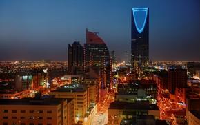 Picture night, lights, Saudi Arabia, Riyadh