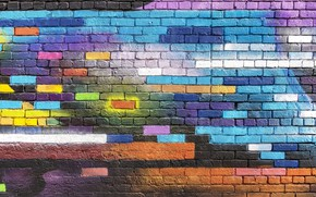 Picture colorful, wallpaper, wall, graffiti, textures, paint, brick, street art, 4k ultra hd background