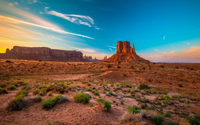 Picture the sky, mountains, blue, rocks, desert, USA, Sands, shrubs, Monument Valley, education