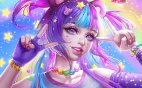 Wallpaper look, girl, stars, decoration, mood, art, beads, bracelet, gesture, ears, tails
