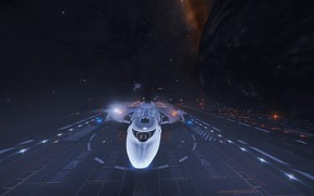 Picture space, planet, Spaceship, space station, Elite: Dangerous
