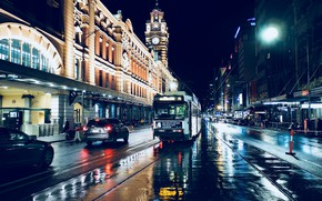 Picture road, machine, night, lights, street, rails, home, Australia, lights, tram, Melbourne, Melbourne
