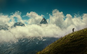 Picture clouds, mountain, morning