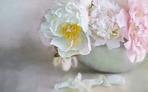 Picture flowers, bouquet, bowl, petals, art, pink, white, still life, painting, light background, peonies, composition