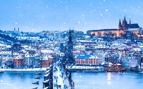 Picture winter, river, Prague, Czech Republic, Christmas, panorama, Charles bridge