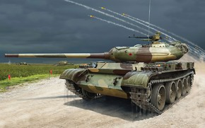 Picture art, painting, tank, t-54