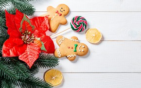 Picture flower, branches, cookies, Christmas, New year, lollipops, needles