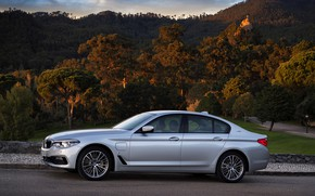 Picture road, forest, the sky, clouds, mountains, grey, BMW, sedan, hybrid, 5, four-door, 2017, 5-series, G30, …