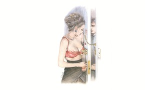 Picture girl, minimalism, the door, guy, pencil drawing