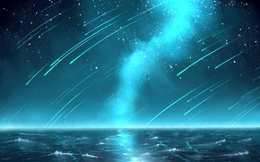 Picture sea, night, Starfall