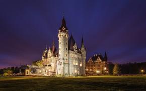 Picture landscape, night, the evening, lighting, Poland, tower, architecture, Posnanski castle, Moszna Castle, Purse