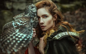 Picture girl, style, owl, bird, woman, fantasy, elf, Marketa Novak