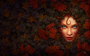 Picture Greens, Nature, Color, Girl, Leaves, Plant, Lips, Face, Girl, Kerem Couplets, Eyes, Plants, Red, Fantasy, …