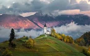 Picture clouds, landscape, mountains, nature, hills, Church, Slovenia, Yamnik