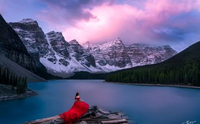 Picture forest, the sky, girl, mountains, lake, dress