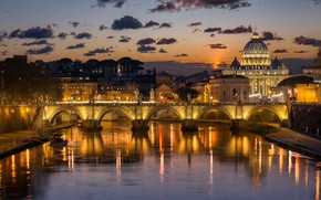 Wallpaper night, bridge, lights, river, Rome, Italy, The Tiber