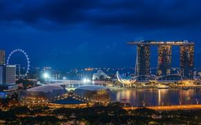 Picture night, the city, Singapore, Ferris wheel, Singapore, Singapore city