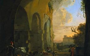 Picture landscape, oil, picture, Yan Asselin, Jan Asselijn, 1652, Shepherds with Cattle under a Vault of …