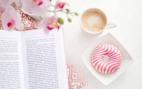 Picture coffee, Cup, book, donut