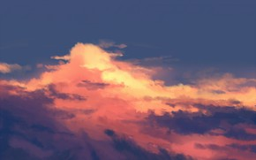 Picture the sky, clouds, sunset