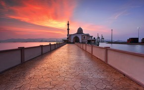 Picture sunset, Penang, malaysia, Port Mosque