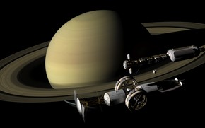 Picture space, planet, satellite, Saturn