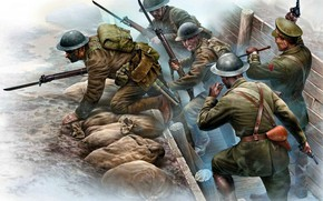 Picture Soldiers, Western front, The first World war, The battle in the trenches, The British expeditionary …