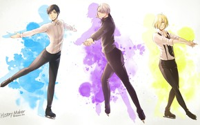Picture anime, art, guys, Yuri on Ice, Yuri on the ice, Viktor Nikiforov, Yuri Plisetsky, Yuri …