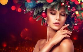 Picture pose, glare, background, model, toys, new year, portrait, makeup, hairstyle, beauty, needles, Rowan, bokeh, headdress