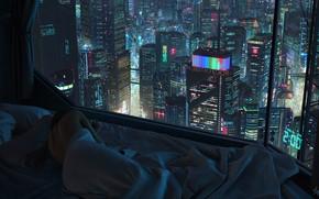 Wallpaper Girl, Night, The city, Window, Bed, City, Sleep, night, Illustration, futuristic, Cyberpunk, scifi, Tony Skeor, ...