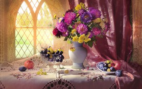 Picture flowers, table, apples, bouquet, window, grapes, fruit, still life, curtains
