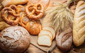 Picture wheat, bread, cakes, bread, buns, baton, baking, buns