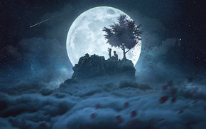 Picture space, night, children, tree, the moon, by CaelGibran