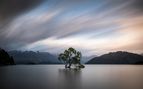 Picture forest, the sky, clouds, mountains, lake, Tree