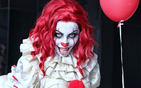 Wallpaper language, girl, clown, horror, Stephen king, it, pennywise, Pennywise
