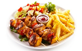 Picture plate, vegetables, sauce, kebab, salad, potatoes